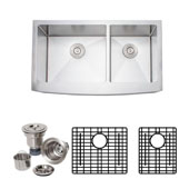 36'' W Arched Apron Front Farmhouse Double Bowl 16-Gauge Stainless Steel Kitchen Sink with Grid Racks and Basket Strainers, 35-7/8'' W x 20-3/4'' D x 10'' H