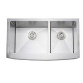 36'' Arched Apron Front Farmhouse Double Bowl 16-Gauge Stainless Steel Kitchen Sink, 35-22/25'' W x 20-3/4'' D x 10'' H