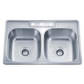 20 Gauge ADA Topmount Double-Bowl Stainless Steel Matte Finish, Package Includes 2 Strainers, 33-1/8''W x 22''D x 5''H