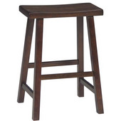 24'' Saddle Seat Bar Stool in Walnut Finish