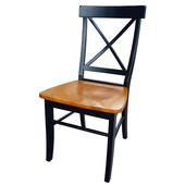 X-Back Chair with Solid Parawood Seat in Black / Cherry