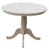 36'' Round Extension Table With 12'' Leaf, 48''W x 36''D x 30''H
