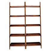 Lean to Shelf Units with 5 Shelves, Espresso