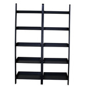Black 2-Pc Lean to Shelf Units with Shelves, 25-3/5'' W x 14'' D x 75-1/2'' H, Black