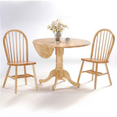 Dining Table Set, 3 pcs - 42'' Dual Drop Leaf Table with 2 Windsor chairs, Natural