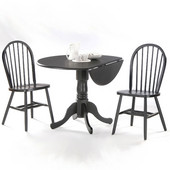 Dining Table Set, 3 pcs - 42'' Dual Drop Leaf Table with 2 Windsor chairs, Black