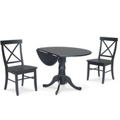 Dining Table Set, 3 pcs - 42'' Dual Drop Leaf Table with 2 X-back chairs, Black