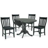 Dining Table Set, 5 pcs - 42'' Dual Drop Leaf Table with 4 Schoolhouse Chairs, Black