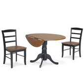 Dining Table Set, 3 pcs - 42'' Dual Drop Leaf Table with 2 Madrid chairs, Black / Cherry
