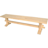 Trestle Bench, Unfinished, 72'' W x 14'' D x 17-3/4'' H