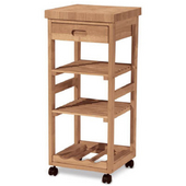 Solid Parawood Kitchen Trolley, Unfinished, 15'' W x 14'' D x 34'' H