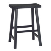24'' Saddle Seat Bar Stool in Black Finish