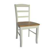 Madrid Ladderback Chair, White/Natural, Sold as Pair
