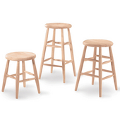 - 30'' Scooped Seat Backless Stool, 14'' W x 14'' D x 30'' H
