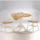 Dining Table Set, 3 pcs - 42'' Dual Drop Leaf Table with 2 Windsor chairs, White / Natural
