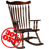 Solid Wood Rocker, 28'' W x 36'' D x 44-1/2'' H, Cherry