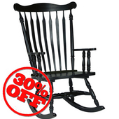 Solid Wood Rocker, 28'' W x 36'' D x 44-1/2'' H, Antique Black