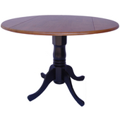 - 42'' Round Dual Drop Leaf Pedestal Table, 42'' Dia x 29 1/2'' H, Black/Cherry