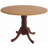- 42'' Round Dual Drop Leaf Pedestal Table, 42'' Dia x 29 1/2'' H, Cinnamon/Espresso
