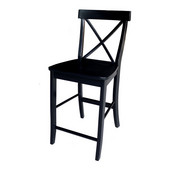 17.75'' W x 20'' D x 39.75'' H X-Back Counter height Stool - 24'' H Seat, Black