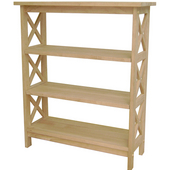 X-Sided 3 Tier Bookcase, Unfinished