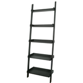 - 5 Tier Leaning Shelf, 14'' W x 25 1/2'' D x 75 1/4'' H, Black