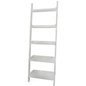 - 5 Tier Leaning Shelf, 14'' W x 25 1/2'' D x 75 1/4'' H, White