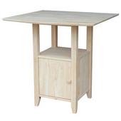 Dual Drop Leaf Bistro Table With Storage, 38''W x 38''D x 36''H