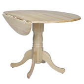- 42'' Round Dual Drop Leaf Pedestal Table, 42'' Dia x 29 1/2'' H, Natural