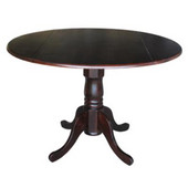 - 42'' Round Dual Drop Leaf Pedestal Table, 42'' Dia x 29 1/2'' H, Rich Mocha