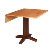 International Concepts Dining Table, 36'' Square, Dual Drop Leaf, Cinnamon/Espresso