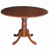 - 42'' Round Dual Drop Leaf Pedestal Table, 42'' Dia x 29 1/2'' H, Espresso