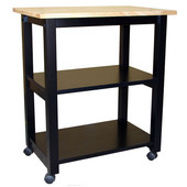 Microwave Cart in Black/Natural, 26'' W x 17'' D x 30''H