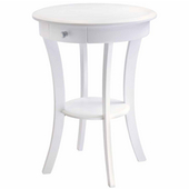 Sasha Round Accent Table, White Finish
