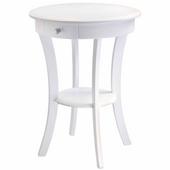 Sasha Round Accent Table, White Finish