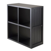 Shelf 2 x 2 Cube with Wainscoting Panel in Black
