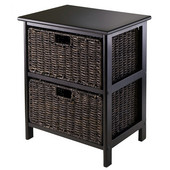 WS-20216, Omaha Storage Rack with 2 Foldable Baskets, Black, 16.73'' W x 12.40'' D x 20.47'' H