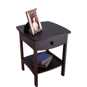 Curved Night Stand with Drawer and Shelf in Black Finish