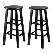 WS-20224, Set of 2, Counter Height Stools, 24'' Square Leg Stools, Black, 13.4'' W x 13.4'' D x 24.2'' H