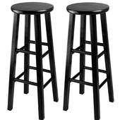 WS-20230, Set of 2, Bar Height Stools, 29'' Square Leg Stools, Black, 13.6'' W x 13.6'' D x 29.1'' H