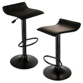 WS-20239, Obsidian Airlift Stools, Set of 2, Adjustable, Swivel, Backless, Seat And Base, Black, 15.1'' W x 15.1'' D x 33.3'' H