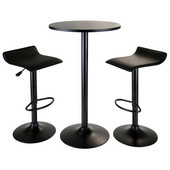 WS-20313, Obsidian 3-Piece Pub Set, Round Table with 2 Airlift Stools, Black, 23.62'' W x 23.62'' D x 39.76'' H