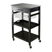WS-20322, Julia Utility Cart, Black , 22.68'' W x 16.06'' D x 34.13'' H