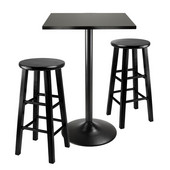 WS-20323, 3-Piece Counter Height Dining Set, Square Table Top And Metal Legs with 2 Wood Stools, Black, 22.68'' W x 16.06'' D x 34.13'' H
