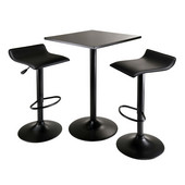WS-20325, Obsidian 3-Piece Table Set, Square Table Counter Height with 2 Airlift Stools, Black, 23.62'' W x 23.62'' D x 34.65'' H