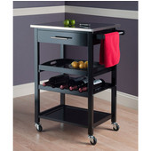 Anthony Portable Kitchen Cart with Removable Serving Tray, Black, 25-3/16''W x 16-3/8''D x 33-3/4''H