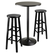 WS-20331, 3-Piece Round Black Pub Table with Two 29'' Wood Stool Square Legs, Black, 23.66'' W x 23.66'' D x 39.76'' H