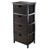 WS-20418, Omaha Storage Rack with 4 Foldable Baskets, Black, 16.73'' W x 12.40'' D x 36.81'' H