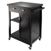 WS-20727, Timber Kitchen Cart with Wainscot Panel, Black, 27.76'' W x 19.37'' D x 34'' H