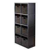 9-Pc Wainscoting Panel Shelf 4 x 2 Slots with 8 Foldable Corn Husk Baskets in Chocolate Finish